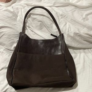 DKNY brown shoulder bag nylon leather combo modern styling lots of room euc